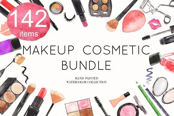Watercolor Makeup Cosmetic Bundle Graphic Illustrations By BonaDesigns