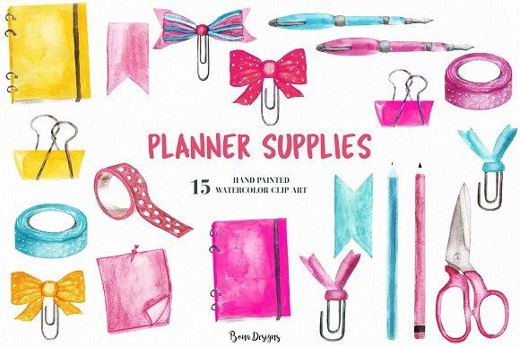 image relating to Planner Supplies named Watercolor Planner Resources Clipart