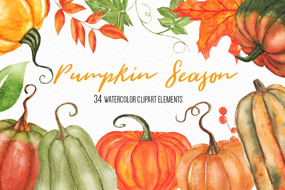 Download Free Watercolor Pumpkin Clipart Set Graphic By Bonadesigns Creative for Cricut Explore, Silhouette and other cutting machines.
