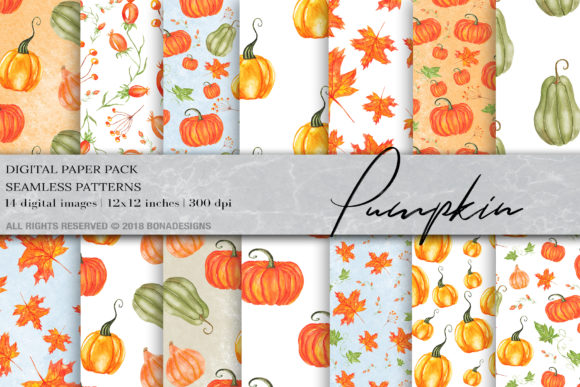 Download Free Watercolor Pumpkin Digital Paper Graphic By Bonadesigns for Cricut Explore, Silhouette and other cutting machines.