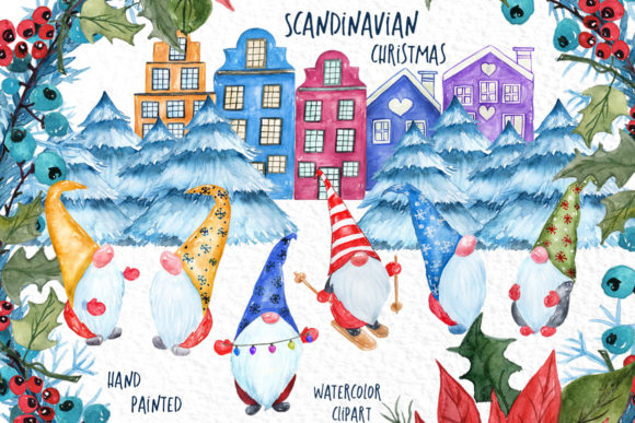 Watercolor Scandinavian Gnome Graphic Crafts By vivastarkids