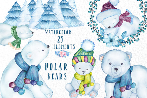 Watercolor Winter Animals Graphic Illustrations By vivastarkids