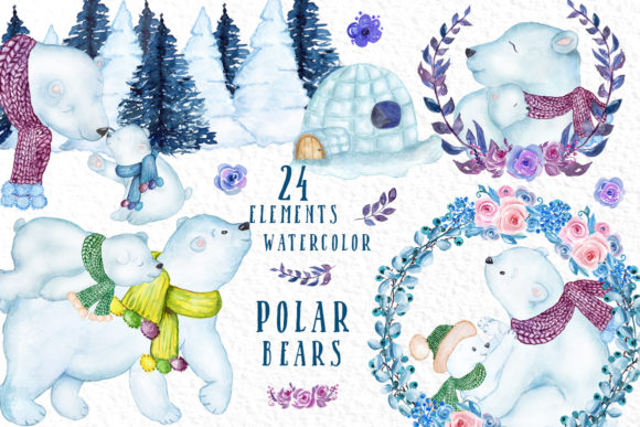 24 Watercolor Winter Animals Graphic Illustrations By vivastarkids