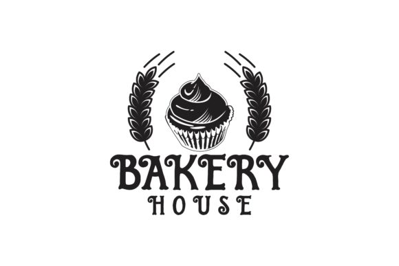 Download Free Wheat Cupcake Vintage Bakery Logo Graphic By Yahyaanasatokillah for Cricut Explore, Silhouette and other cutting machines.