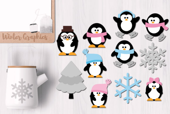 Print on Demand: Winter Penguin Family Graphic Illustrations By Revidevi
