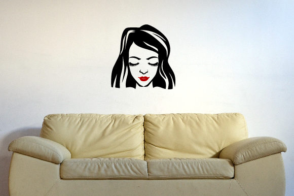 Woman's Face with Eyes Closed Wall Art with Red Lips Fits 24x24 Inch Craft Design By Creative Fabrica Crafts Image 1
