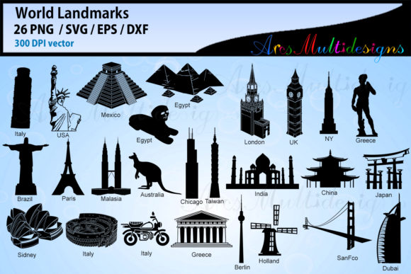 Print on Demand: World Lankmarks Silhouette Svg Graphic Illustrations By Arcs Multidesigns