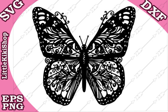 Download Free Zentangle Butterfly Graphic By Littlekikishop Creative Fabrica for Cricut Explore, Silhouette and other cutting machines.