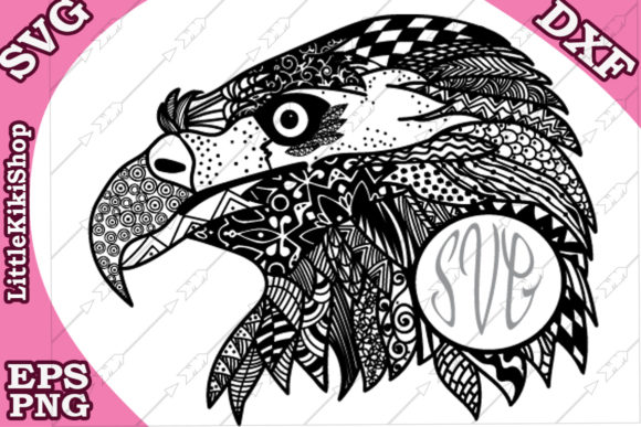 Download Free Zentangle Eagle Graphic By Littlekikishop Creative Fabrica for Cricut Explore, Silhouette and other cutting machines.