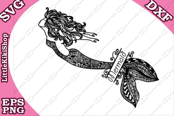 Download Free Zentangle Mermaid Monogram Svg Graphic By Littlekikishop for Cricut Explore, Silhouette and other cutting machines.