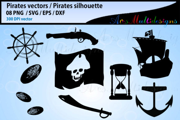 Print on Demand: Pirates SVG Silhouette Bundle Graphic Illustrations By Arcs Multidesigns