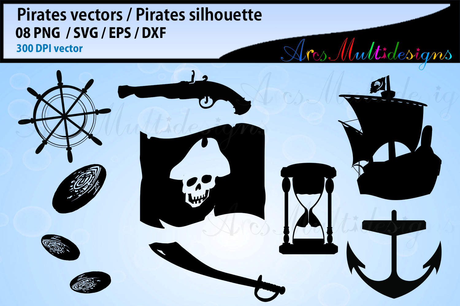Download Free Pirates Silhouette Bundle Graphic By Arcs Multidesigns for Cricut Explore, Silhouette and other cutting machines.