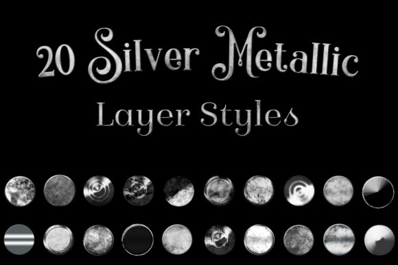 Print on Demand: 20 Silver Metallic Layer Styles for Photoshop Graphic Layer Styles By SapphireXDesigns - Image 1