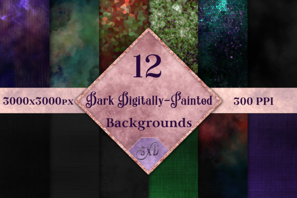 Print on Demand: Dark Digitally-Painted Backgrounds - 12 Image Set Graphic Backgrounds By SapphireXDesigns