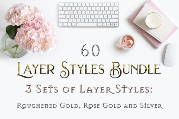 Print on Demand: 60 Layer Styles Bundle - Gold, Rose Gold and Silver Graphic Layer Styles By SapphireXDesigns