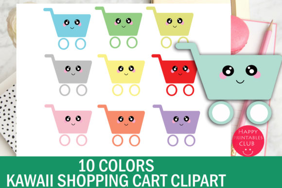 Print on Demand: 10 Colors Cute Kawaii Shopping Cart Clipart Graphic Illustrations By Happy Printables Club