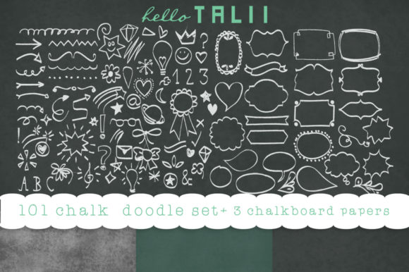101 Chalk Doodles + 3 Chalkboard JPG Graphic Illustrations By Hello Talii