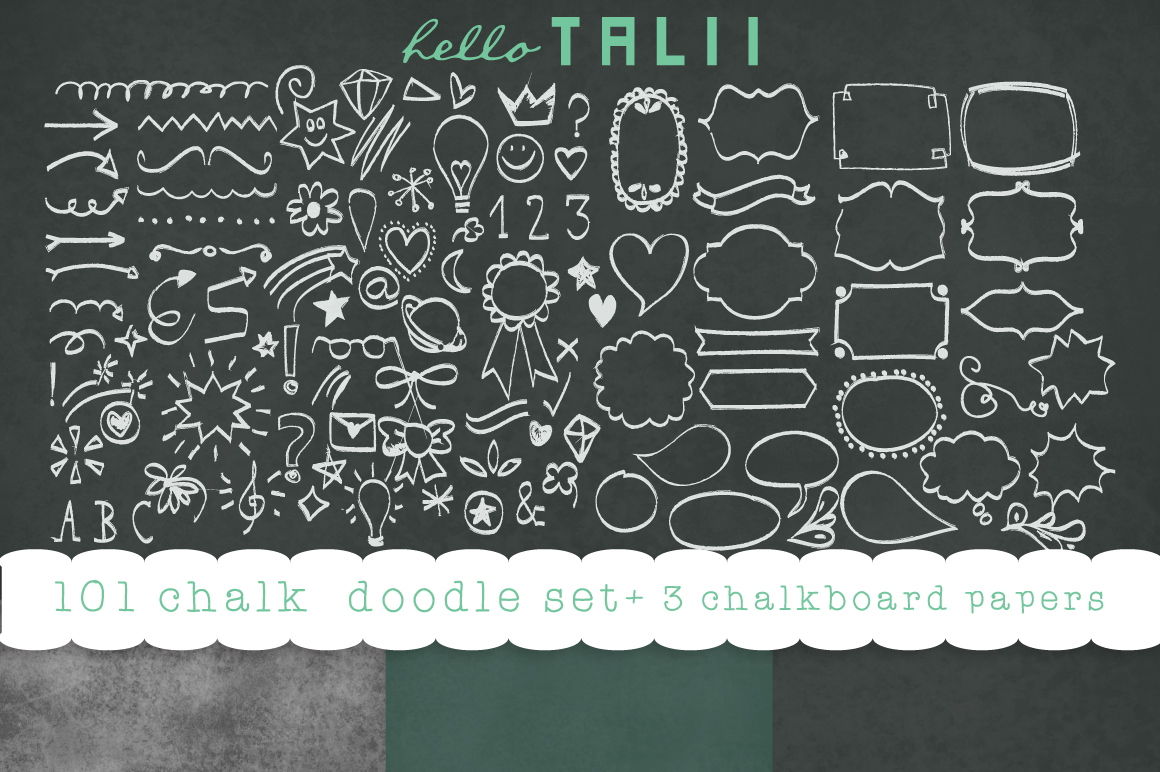 Download Free 101 Chalk Doodles 3 Chalkboard Jpg Graphic By Hello Talii for Cricut Explore, Silhouette and other cutting machines.