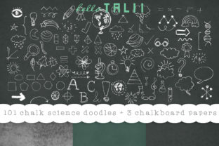 101 School Chalk Doodles + Chalkboard Papers Graphic Illustrations By Hello Talii