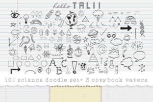 101 Science Doodles + 3 Copy Papers Graphic Illustrations By Hello Talii