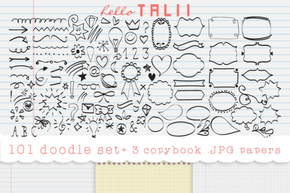 101 Doodles Clipart + 3 Copybook JPG Graphic Illustrations By Hello Talii