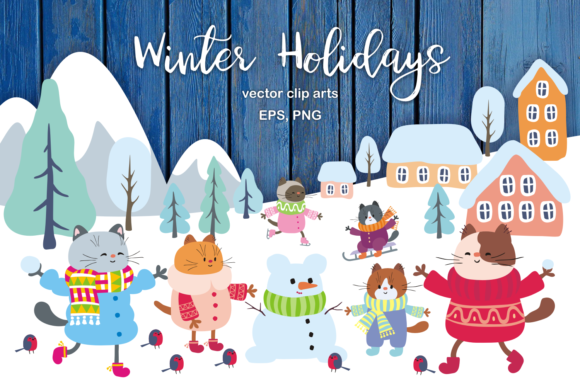 Winter Holidays Funny Cats Vector Set Graphic By Olga Belova Image 1