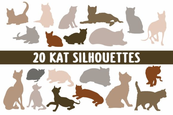 Print on Demand: 20 Cat Silhouettes Graphic Objects By bywahtung