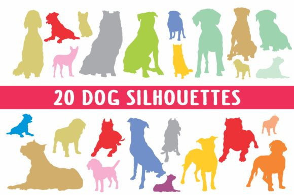 Print on Demand: 20 Dog Silhouettes in Vector Format Grafik Illustrationen von bywahtung