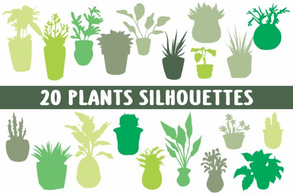 Print on Demand: 20 Plants Silhouettes Graphic Illustrations By bywahtung