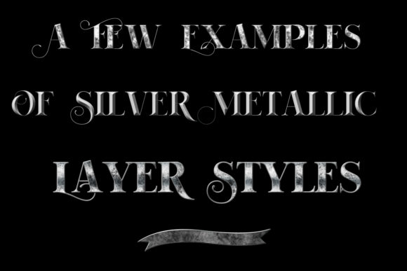 Print on Demand: 20 Silver Metallic Layer Styles for Photoshop Graphic Layer Styles By SapphireXDesigns - Image 2