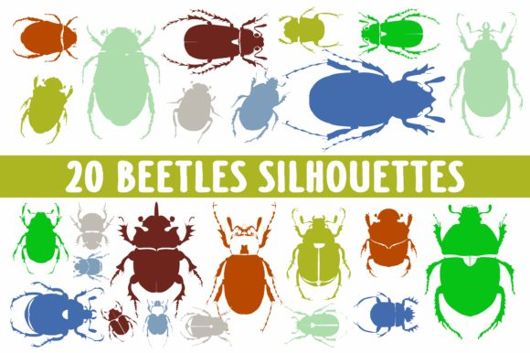 Print on Demand: 20 Beetles Silhouettes in Vector Graphic Illustrations By bywahtung