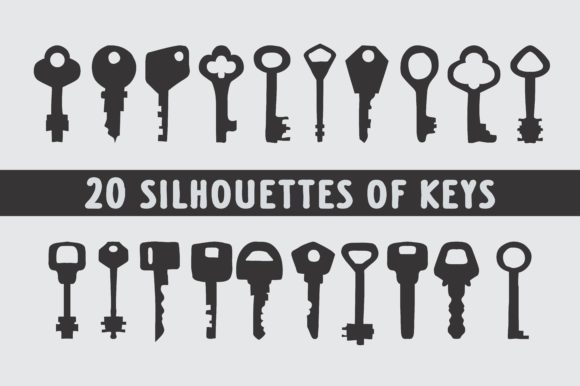 Download Free 20 Keys Silhouettes In Vector Graphic By Bywahtung Creative for Cricut Explore, Silhouette and other cutting machines.