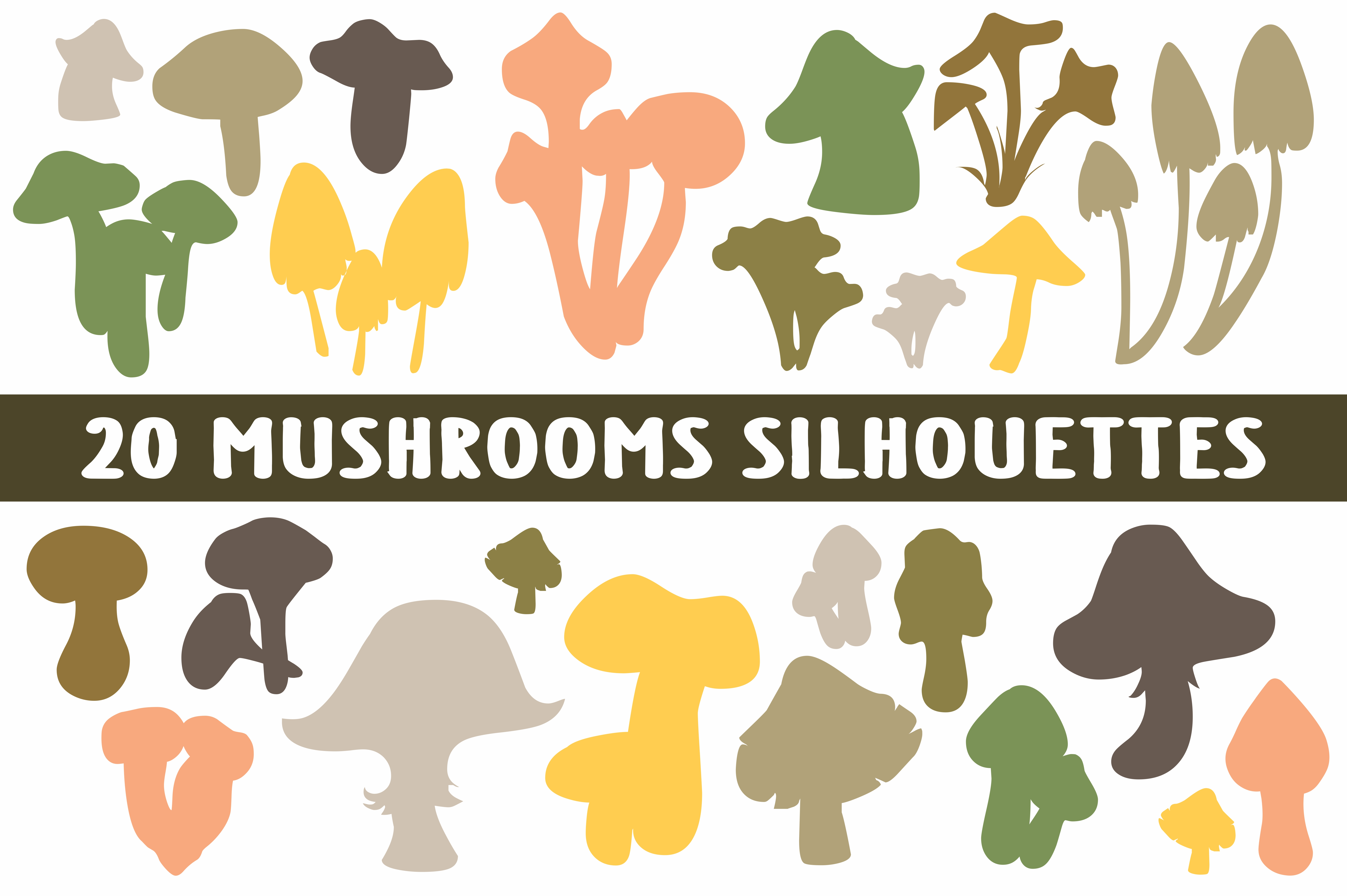 Download Free 20 Mushroom Shapes Silhouettes Grafico Por Bywahtung Creative for Cricut Explore, Silhouette and other cutting machines.