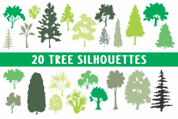 Print on Demand: 20 Tree Designs in EPS Format Graphic Illustrations By bywahtung
