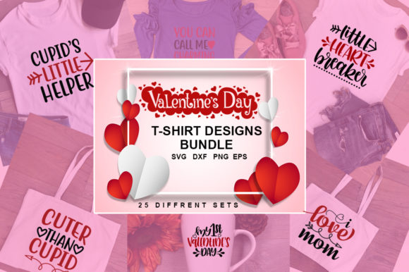 Print on Demand: 25 Valentine's Day Tshirt Designs Bundle Graphic Print Templates By svgbundle.net