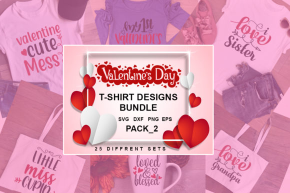 Print on Demand: Valentine's Day T-shirt Bundle Graphic Illustrations By svgbundle.net