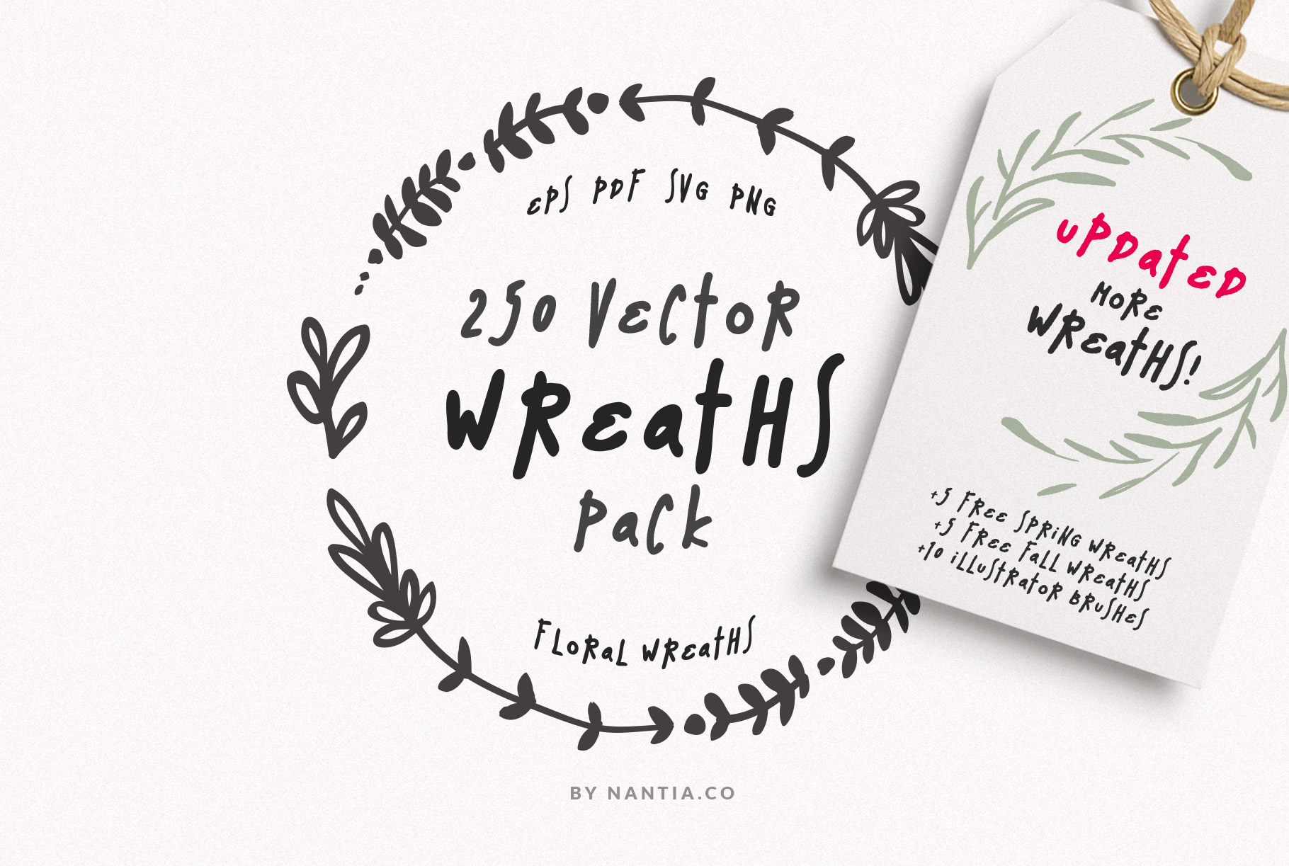 Download Free 250 Wreaths Vector Graphic By Nantia Creative Fabrica for Cricut Explore, Silhouette and other cutting machines.
