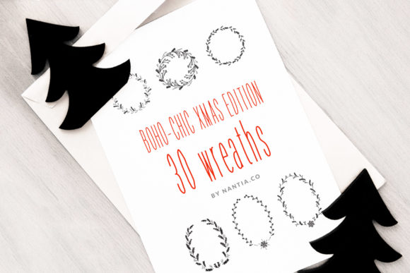 Print on Demand: 30 Christmas Vector Wreaths Graphic Illustrations By nantia