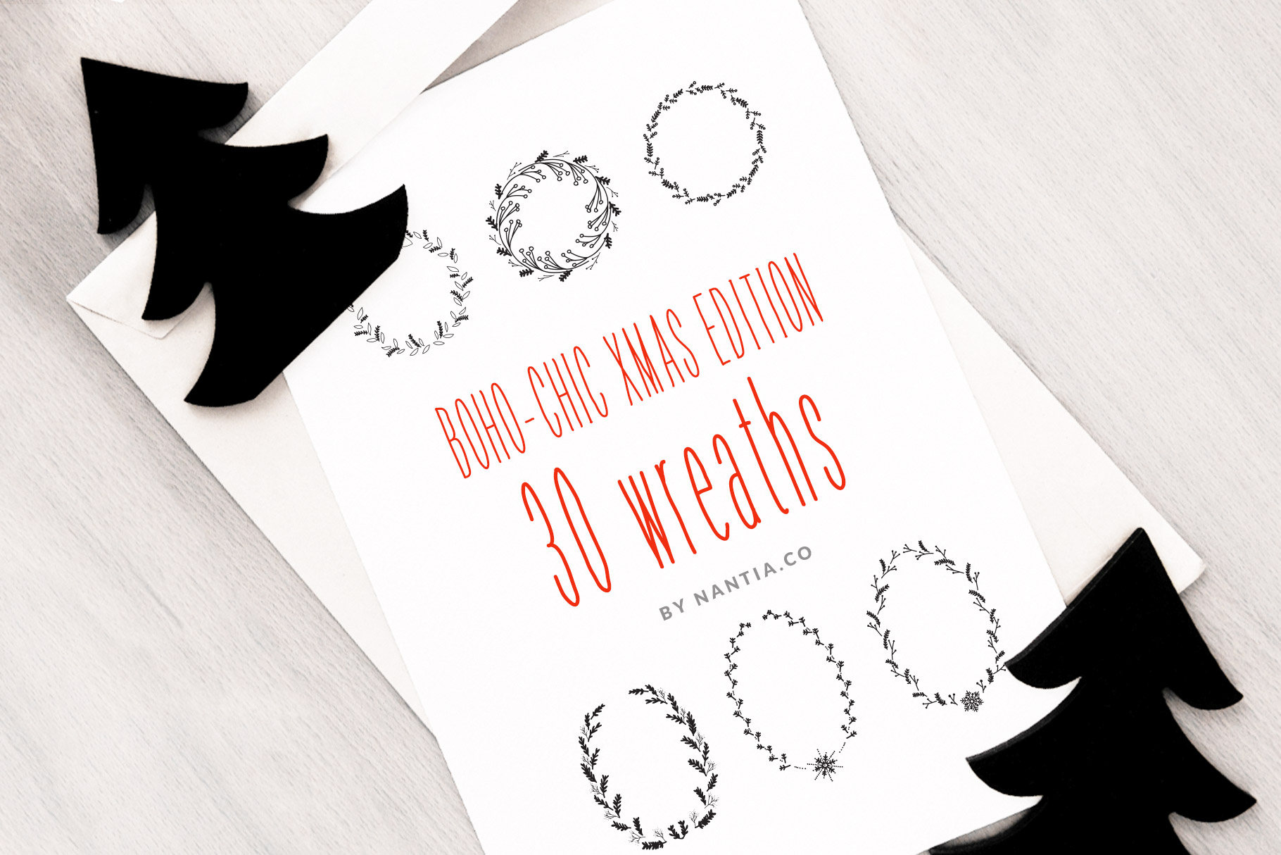 Download Free 30 Christmas Vector Wreaths Graphic By Nantia Creative Fabrica for Cricut Explore, Silhouette and other cutting machines.