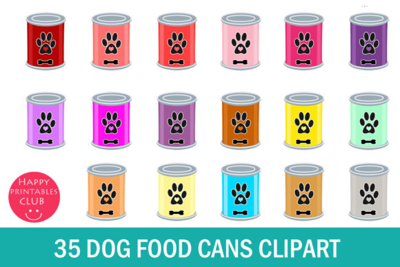 Print on Demand: 35 Dog Food Can Clipart Graphic Illustrations By Happy Printables Club