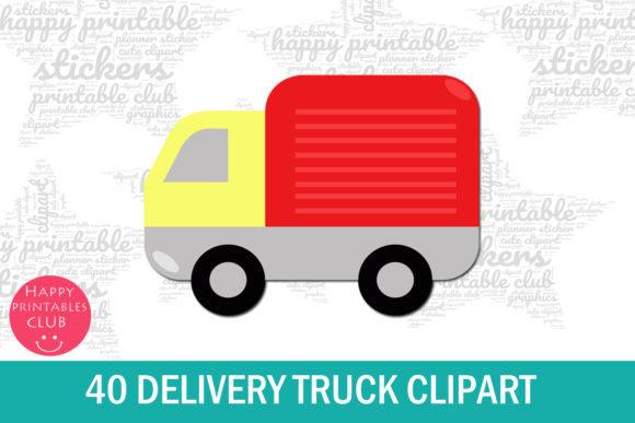 Print on Demand: 40 Delivery Truck Clipart Graphic Illustrations By Happy Printables Club - Image 2