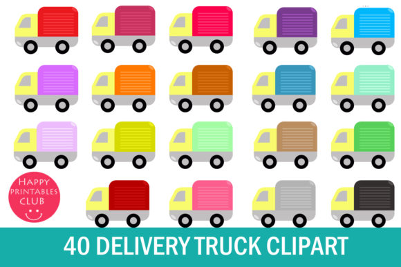 Print on Demand: 40 Delivery Truck Clipart Graphic Illustrations By Happy Printables Club - Image 1