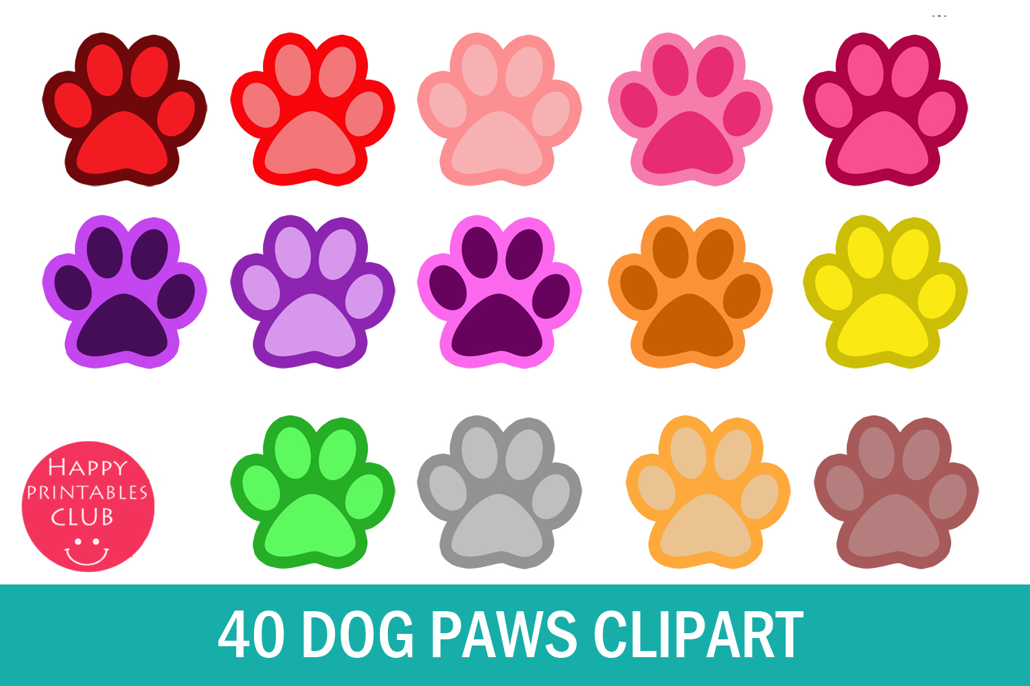40 Dog Paws Clipart (Graphic) by Happy Printables Club · Creative Fabrica