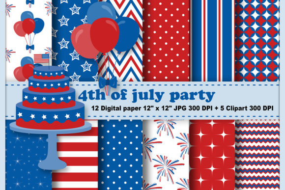Print on Demand: 4th of July Digital Paper Graphic Patterns By CosmosFineArt