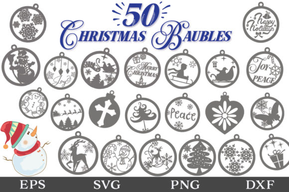 Download Free 50 Christmas Baubles Svg Pack Graphic By Nerd Mama Cut Files for Cricut Explore, Silhouette and other cutting machines.