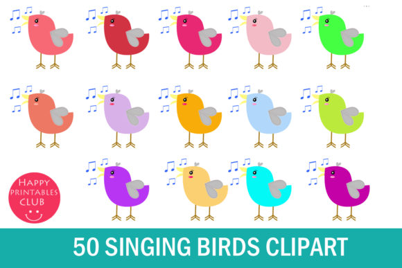 Print on Demand: 50 Singing Bird Cliparts Graphic Illustrations By Happy Printables Club