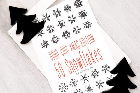 Print on Demand: 50 Vector Snowflakes Graphic Objects By nantia
