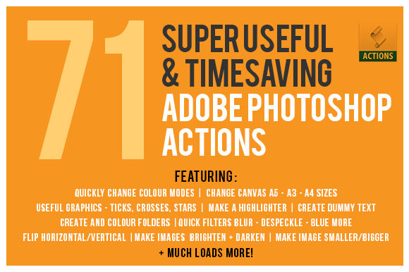 Print on Demand: 71 Super Useful & Time Saving Adobe Photoshop Actions Gráfico Acciones y Pre-ajustes Por GraphicsBam Fonts
