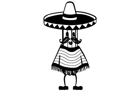 Download Free A Cartoon Churro With A Mexican Sombrero Moustache And Poncho for Cricut Explore, Silhouette and other cutting machines.