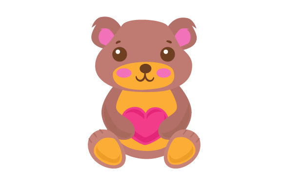 Download Free A Cute Teddy Bear Holding A Heart Svg Cut File By Creative for Cricut Explore, Silhouette and other cutting machines.